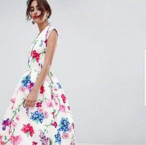 ASOS botanical deep plunge prom dress